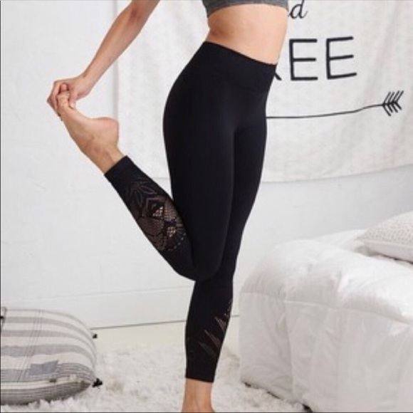 1c231d193baca2 aerie Pants | Laser Cut Out Black Soft Leggings | Poshmark